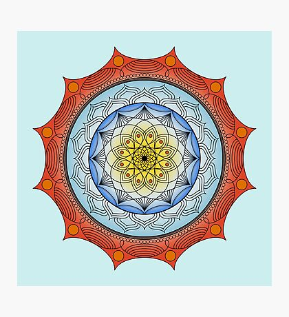 World On Fire Mandala Photographic Print