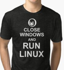 Close Windows and Run Linux - Funny Design for Free Software Geeks Tri-blend T-Shirt