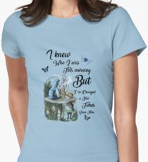 "Alice in Wonderland Quote Vintage Dictionary Art ""I've changed few times..."" Womens Fitted T-Shirt"