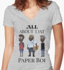 All About My Man Dat Paper Boi (Group) Women's Fitted V-Neck T-Shirt