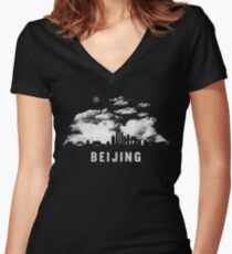 Beijing China Skyline Cityscape at Night Women's Fitted V-Neck T-Shirt
