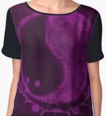 ying yang canvas purple Chiffon Top
