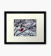 Woman in red kimono with bare shoulders in snow art photo print Framed Print