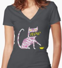 Now Cat Women's Fitted V-Neck T-Shirt
