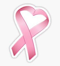 Pink Heart Cancer Ribbon Sticker