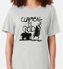 Clapton is God - Black on White Slim Fit T-Shirt