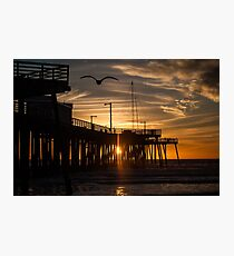 Sunset through the Pier with gull Photographic Print