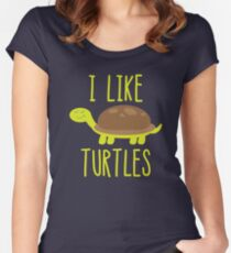 I Like Turtles Funny Cute Turtle Lover Women's Fitted Scoop T-Shirt