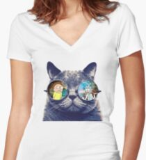 Rick and Morty Cat Women's Fitted V-Neck T-Shirt