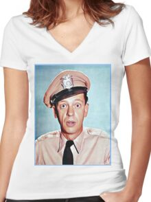 Barney Fife in color Women's Fitted V-Neck T-Shirt