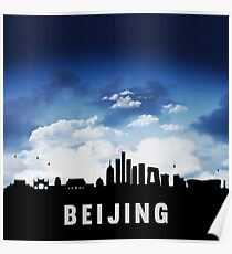 Beijing China Skyline Cityscape at Nightfall Poster