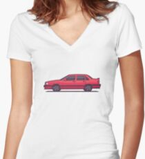 Volvo 850 T-5R Saloon (Red) Women's Fitted V-Neck T-Shirt