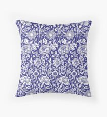 William Morris Carnations   Navy Blue and White Floral Pattern Throw Pillow