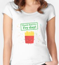 Thank God Its Fry Day Fries Pun Humor Women's Fitted Scoop T-Shirt