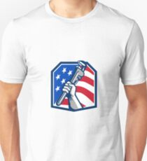 Plumber Hand Pipe Wrench USA Flag Retro T-Shirt