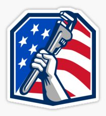 Plumber Hand Pipe Wrench USA Flag Retro Sticker