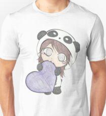 Cute Girl Love Purple Heart - Cartoonist Arts Unisex T-Shirt
