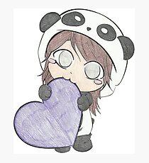 Cute Girl Love Purple Heart - Cartoonist Arts Photographic Print