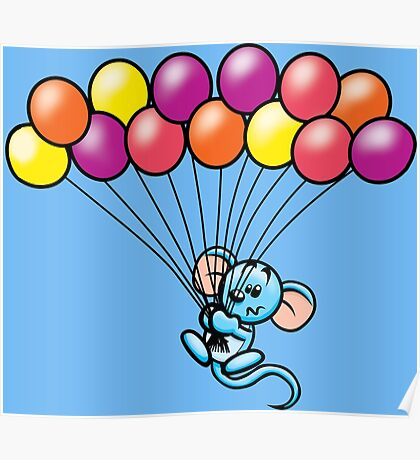 HeinyR- Blue Mouse with Balloons Poster