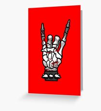 HEAVY METAL HAND SIGN - bloody Greeting Card