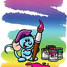 HeinyR- Blue Mouse Painter by cadellin