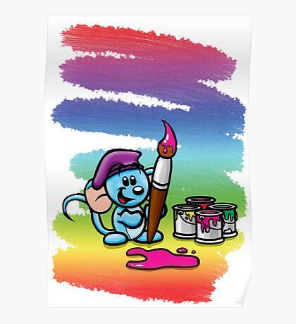 HeinyR- Blue Mouse Painter Poster