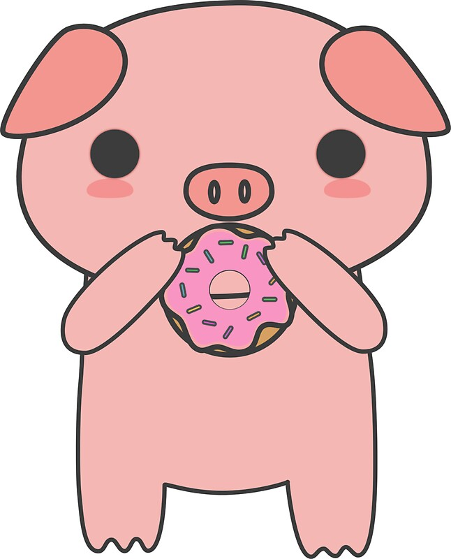 Quot Cute And Kawaii Pig Eating A Donut Quot Stickers By
