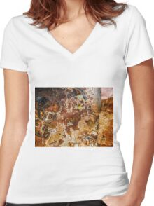Aussie Corrugated Galvanised Iron #30 Women's Fitted V-Neck T-Shirt
