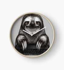 Sloth with laptop Clock