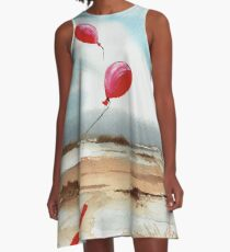 Red balloons watercolour A-Line Dress
