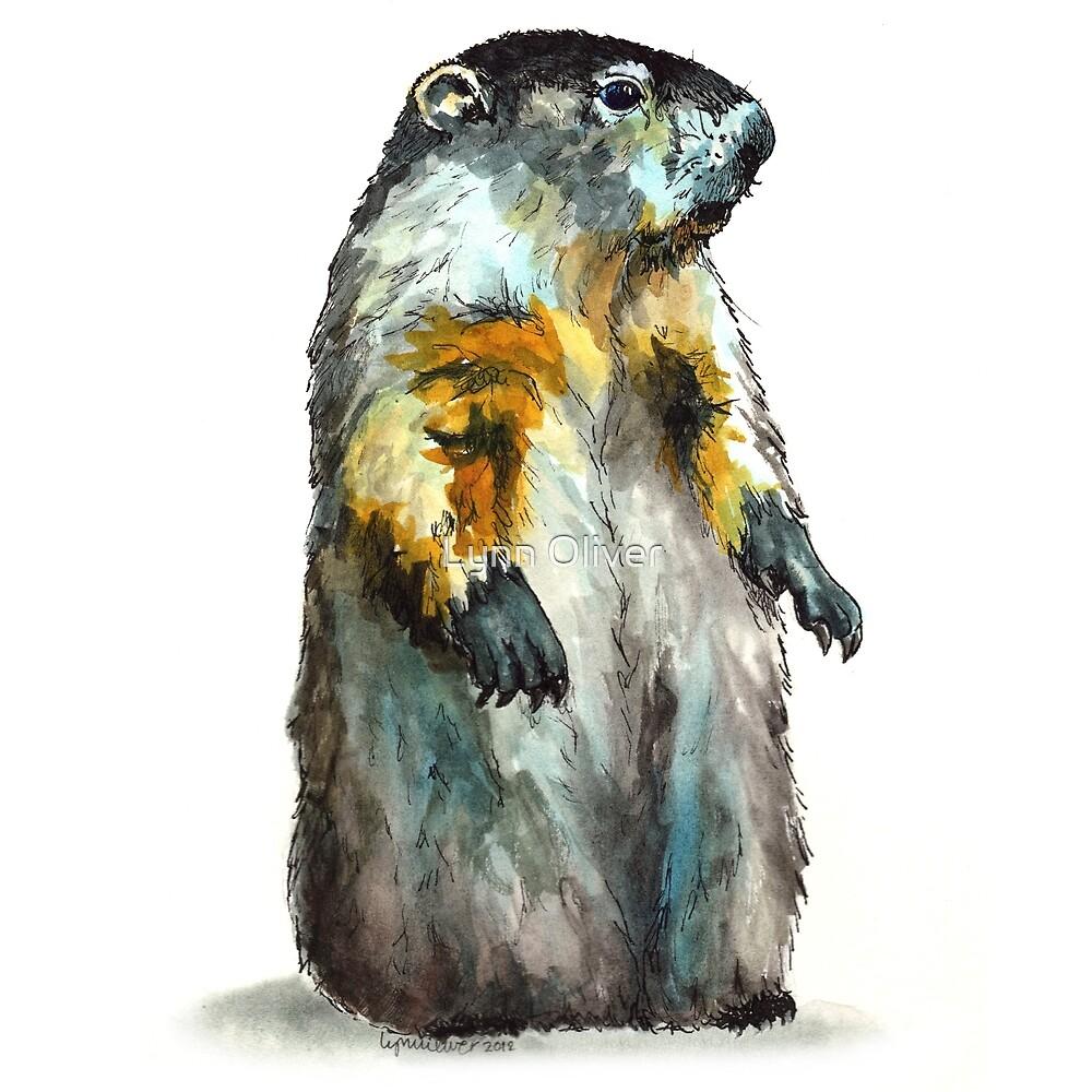 Winter Woodchuck (aka Groundhog) by Lynn Oliver
