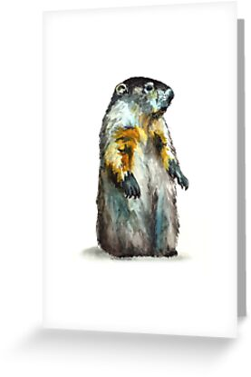 Winter Woodchuck (aka Groundhog) by Lynn Oliver