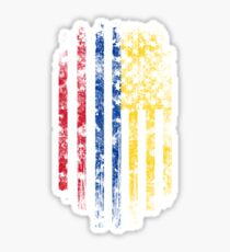 Colombia and America Flag Combo Distressed Design Sticker