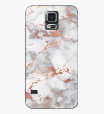 Marmor mit Roségold Streifen Telefonkastenabdeckung Hülle & Klebefolie für Samsung Galaxy