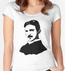 Nikola Tesla Stencil Women's Fitted Scoop T-Shirt