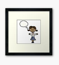 cartoon clever school girl Framed Print