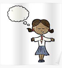 cartoon clever school girl Poster