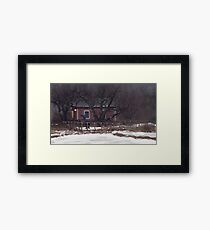 Fruktträdgård och Dromaeosaur Framed Print