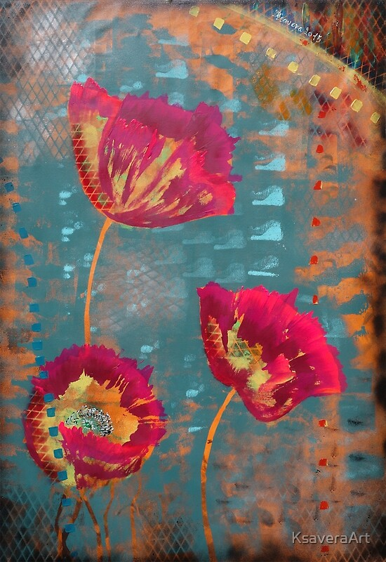 Quot Poppies Abstract Pink Teal Painting By Ksavera Quot By