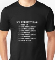 My Perfect Day: Go Kiteboarding - White Text T-Shirt