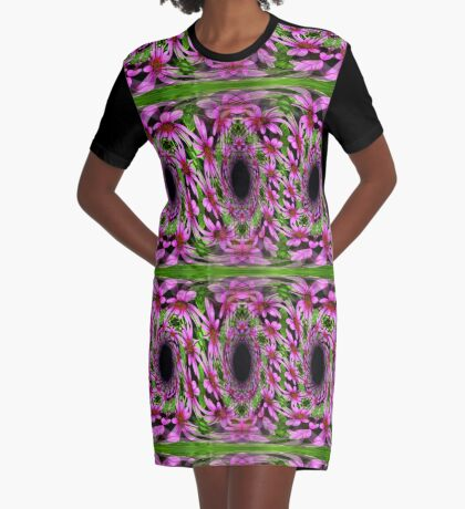 Swirling Pink Daisy Flowers Abstract Design Graphic T-Shirt Dress