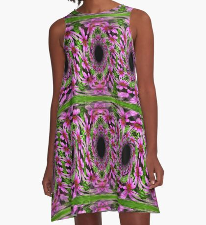 Swirling Pink Daisy Flowers Abstract Design A-Line Dress