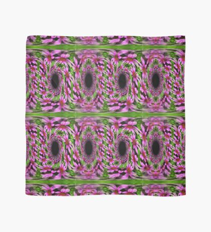 Swirling Pink Daisy Flowers Abstract Design Scarf