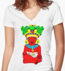 Sitting Indian Women's Fitted V-Neck T-Shirt