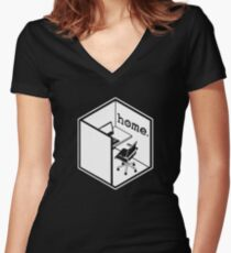 Cubicle Of Home Funny Women's Fitted V-Neck T-Shirt