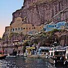 Cliffs Of Santorini by Nancy Richard