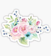 Floral watercolor bouquet pink blue Sticker