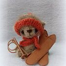 Handmade bear 'Henrik' Winter sports, ski bear by Penny Bonser