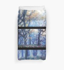 The Enchanted Forest Landscape with Single border Duvet Cover