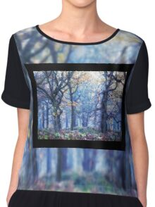 The Enchanted Forest Landscape with Single border Chiffon Top